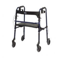 Rollator Blue Adult Rollite with handbrakes, backrest, and fold-down seat.